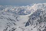 Approaching Ruth Glacier from the air east of Mt McKinley, Denali National park.