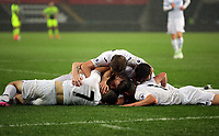 Pictured: Adam King of Swansea City is mobbed by team mates as he celebrates his second goal Monday 15 May 2017<br />Re: Premier League Cup Final, Swansea City FC U23 v Reading U23 at the Liberty Stadium, Wales, UK