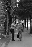 Scenes de rue en 1983 - argument matinal  sur le Boulevard Saint-Laurent  et Ontario<br /> <br /> <br /> PHOTO : Pierre Roussel -  Agence Quebec Presse
