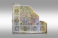 Roman mosaics - Geometric Mosaic. The Giyoslu Villa. Ancient Zeugama, 2nd - 3rd century AD . Zeugma Mosaic Museum, Gaziantep, Turkey.