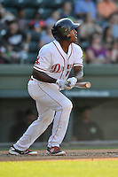 First baseman Josh Ockimey (18) of the Greenville Drive bats in a game against the Columbia Fireflies on Sunday, May 8, 2016, at Fluor Field at the West End in Greenville, South Carolina. Greenville won, 5-4. (Tom Priddy/Four Seam Images)