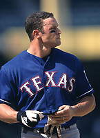 Gabe Kapler of the Texas Rangers during a 2001 season MLB game at Angel Stadium in Anaheim, California. (Larry Goren/Four Seam Images)