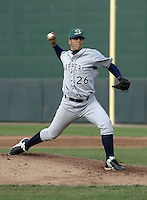 April 21, 2004:  Pitcher Carlos Villanueva of the Beloit Snappers, low-A affiliate of the Milwaukee Brewers, during a game at Oldsmobile Park in Lansing, MI.  Photo by:  Mike Janes/Four Seam Images