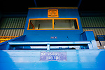 The press box at the Look Local Stadium. Stocksbridge Park Steels v Pickering Town, Evo-Stik East Division, 17th November 2018. Stocksbridge Park Steels were born from the works team of the local British Steel plant that dominates the town north of Sheffield.<br /> Having missed out on promotion via the play offs in the previous season, Stocksbridge were hovering above the relegation zone in Northern Premier League Division One East, as they lost 0-2 to Pickering Town. Stocksbridge finished the season in 13th place.