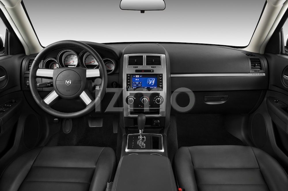 Straight dashboard view of a 2008 Dodge Charger Dub.