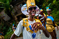 An Afro-Colombian dancer of the Roma neighborhood performs during the San Pacho festival in Quibdó, Colombia, 28 September 2019. Every year at the turn of September and October, the capital of the Pacific region of Chocó holds the celebrations in honor of Saint Francis of Assisi (locally named as San Pacho), recognized as Intangible Cultural Heritage by UNESCO. Each day carnival groups, wearing bright colorful costumes and representing each neighborhood, dance throughout the city, supported by brass bands playing live music. The festival culminates in a traditional boat ride on the Atrato River, followed by massive religious processions, which accent the pillars of Afro-Colombian's identity – the Catholic devotion grown from African roots.
