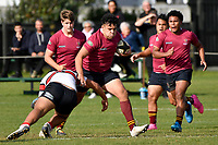 Bradley Fifita of Kings College is tackled during the College 1st XV Rugby - Scots College v Kings College at Scots College, Wellington, New Zealand on Saturday 8 May 2021.<br /> Copyright photo: Masanori Udagawa /  www.photosport.nz