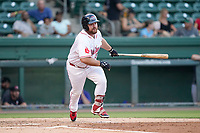 First baseman Joe Davis (34) of the Greenville Drive in a game against the Hickory Crawdads on Tuesday, August 24, 2021, at Fluor Field at the West End in Greenville, South Carolina. (Tom Priddy/Four Seam Images)