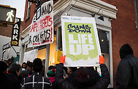 NEW YORK, NY - DECEMBER 11: People hold placards as as they take part during a protest on  December 11,2019 in the Bronx New York City. Residents demand safe streets in response to the escalating violence between gangs, wounded five people, including a 10 and 14-year-old on this area nearly 4,000 students  attend school, daycare, and after-school programs in the 3-block radius of where this violence occurred.<br /> (Photo by Joana Toro/VIEWPress/Corbis via Getty Images)