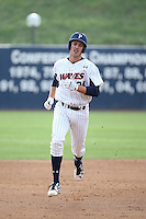 Brad Anderson (24) of the Pepperdine Waves runs the bases during a game against the Texas A&M Aggies at Eddy D. Field Stadium on February 26, 2016 in Malibu, California. Pepperdine defeated Texas A&M, 7-5. (Larry Goren/Four Seam Images)