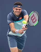 MIAMI GARDENS, FLORIDA - MARCH 24:  Milos Raonic on Day 7 of the Miami Open Presented by Itau at Hard Rock Stadium on March 24, 2019 in Miami Gardens, Florida<br /> <br /> People: Milos Raonic