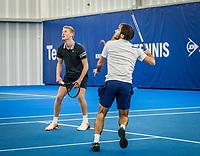 Amstelveen, Netherlands, 17  December, 2020, National Tennis Center, NTC, NK Indoor, National  Indoor Tennis Championships, Doubles   :   Guy den Heijer (NED) and <br /> Jarno Jans (NED) (L)<br /> Photo: Henk Koster/tennisimages.com