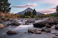 Waiwhakaiho River with Taranaki, Mt. Egmont in background at sunset, Taranaki Region, North Island, New Zealand, NZ