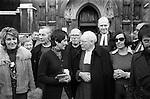 Peace Movement. Peace People. Peace March. Joan Baez, meets Archbishop of outside Westminster Abbey London 1976...