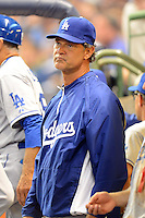 Los Angeles Dodgers manager Don Mattingly #8 during a game against the Milwaukee Brewers at Miller Park on May 22, 2013 in Milwaukee, Wisconsin.  Los Angeles defeated Milwaukee 9-2.  (Mike Janes/Four Seam Images)