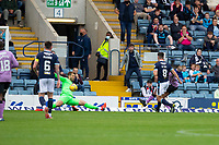 25th September 2021; Kilmac Stadium, Dundee, Scotland: Scottish Premiership football, Dundee versus Rangers; Joe Aribo of Rangers shoots and scores the opening goal past keeper Legzdins to put his side 1-0 ahead in the 16th minute