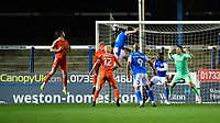 Peterborough United's Frankie Kent scores his side's equalising goal to make the score 1-1<br /> <br /> Photographer Chris Vaughan/CameraSport<br /> <br /> The EFL Sky Bet League One - Peterborough United v Blackpool - Saturday 21st November 2020 - London Road Stadium - Peterborough<br /> <br /> World Copyright © 2020 CameraSport. All rights reserved. 43 Linden Ave. Countesthorpe. Leicester. England. LE8 5PG - Tel: +44 (0) 116 277 4147 - admin@camerasport.com - www.camerasport.com