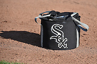 A Chicago White Sox ball bag sits on the field prior to the game between the Great Falls Voyagers and the Ogden Raptors in Pioneer League action at Lindquist Field on July 16, 2014 in Ogden, Utah.  (Stephen Smith/Four Seam Images)