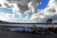 Nov. 9, 2012; Pomona, CA, USA: NHRA top fuel dragster driver J.R. Todd during qualifying for the Auto Club Finals at at Auto Club Raceway at Pomona. Mandatory Credit: Mark J. Rebilas-