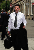 COPY BY TOM BEDFORD<br /> Pictured: Russell Oakley leaves the fitness to practice hearing in Cardiff, Wales, UK. Tuesday 06 September 2016<br /> Re: College lecturer Russell Oakley, 38 who faces being struck off for having a sexual relationship with a pupil 20 years his junior at the Cardiff and Vale College.