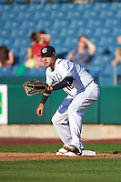 Syracuse Chiefs first baseman Matt Skole (16) waits for a throw during a game against the Louisville Bats on June 6, 2016 at NBT Bank Stadium in Syracuse, New York.  Syracuse defeated Louisville 3-1.  (Mike Janes/Four Seam Images)