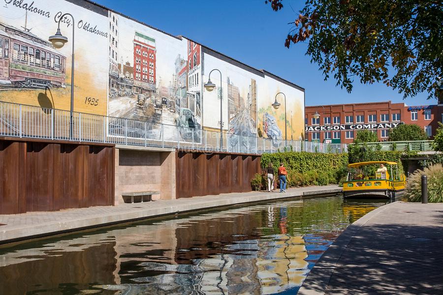 Oklahoma City, Oklahoma, USA.  Bricktown Water Taxi Canal.