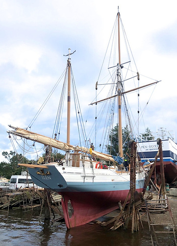 Ilen in the slipway cradle at Oldcourt this week, where she has passed her annual Certification with flying colours