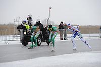 MARATHONSCHAATSEN: ELBURG: Veluwemeer,  25-01-2013, Schaatsseizoen 2012-2013, KPN NK Marathon Natuurijs, Arjan Stroetinga (A15), Christijn Groeneveld (A27), Jan van Loon (A34), ©foto Martin de Jong