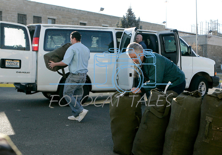 Inmates move belongings out of the historic Nevada State Prison, in Carson City, Nev.,on Monday, Jan. 9, 2012. The 150-year-old facility has been closed by budget cuts..Photo by Cathleen Allison