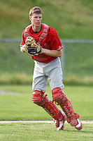 Catcher Jeff Diehl of the Cranston West Falcons during a game versus the Portsmouth Patriots at Cranston West High School in Cranston, Rhode Island on May 6, 2011. Photo by Ken Babbitt /Four Seam Images