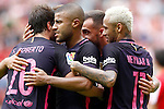 FC Barcelona's Sergi Roberto, Rafinha Alcantara, Paco Alcocer and Neymar Santos Jr celebrate goal during La Liga match. September 24,2016. (ALTERPHOTOS/Acero)