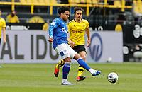 16th May 2020, Signal Iduna Park, Dortmund, Germany; Bundesliga football, Borussia Dortmund versus FC Schalke; Schalkes Weston McKennie gets his pass away before the arrival of BVB's Thomas Delaney