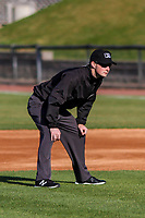 Base umpire Kevin Mandzuk during a Midwest League game between the Burlington Bees and the Wisconsin Timber Rattlers on April 26, 2019 at Fox Cities Stadium in Appleton, Wisconsin. Wisconsin defeated Burlington 2-0. (Brad Krause/Four Seam Images)