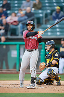 Donovan Solano (7) of the Sacramento River Cats bats against the Salt Lake Bees at Smith's Ballpark on April 12, 2019 in Salt Lake City, Utah. The River Cats defeated the Bees 4-2. (Stephen Smith/Four Seam Images)
