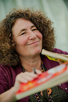 Tuesday 27 May 2014, Hay on Wye, UK<br /> Pictured: Horrid Henry Author Francesca Simon<br /> Re: The Hay Festival, Hay on Wye, Powys, Wales UK.