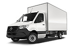 Stock pictures of low aggressive front three quarter view of 2019 Mercedes Benz Sprinter-Box-Van - 2 Door Chassis Cab Low Aggressive