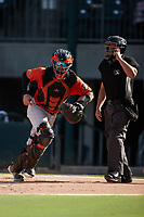 Norfolk Tides catcher Brett Cumberland (28) chases after the baseball as home plate umpire Jonathan Parra looks on during the game against the Charlotte Knights at Truist Field on August 22, 2021 in Charlotte, North Carolina. (Brian Westerholt/Four Seam Images)