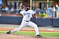 Asheville Tourists starting pitcher Frederis Parra (32) delivers a pitch during a game against the Columbia Fireflies at McCormick Field on August 3, 2018 in Asheville, North Carolina. The Fireflies defeated the Tourists 6-3. (Tony Farlow/Four Seam Images)