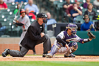 Texas Christian Horned Frogs catcher Kyle Bacak #6 sets a target as home plate umpire Jim Garman looks on during the game against the Texas Christian Horned Frogs at Minute Maid Park on February 28, 2014 in Houston, Texas.  The Bearkats defeated the Horned Frogs 9-4.  (Brian Westerholt/Four Seam Images)
