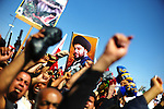 BAGHDAD: Iraq: 18th March 2011:..Supporters of populist Shi'ite cleric Moqtada al-Sadr seen during a protest n Baghdad. The most fervent demands for US troops to leave Iraq come from the Sadrists and their constituents in the Iraqi capital's  Shiite slum, Sadr city. ...Ayman Oghanna for The New York Times.