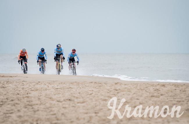 Wout van Aert (BEL/Jumbo-Visma), Mathieu Van der Poel (NED/Alpecin-Fenix),  Toon Aerts (BEL/Baloise-Trek Lions) & Laurens Sweeck (BEL/Pauwels Sauzen-Bingoal) racing on the coastline<br /> <br /> UCI 2021 Cyclocross World Championships - Ostend, Belgium<br /> <br /> Elite Men's Race<br /> <br /> ©kramon