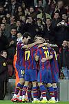 Football Season 2009-2010. Barcelona players Pedro Rodriguez, Lionel Messi, Bojan Krkic, Sergio Busquets celebrating a goal during their spanish liga soccer match at Camp Nou stadium in Barcelona. January 16, 2010.