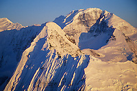 Mt Aello 14,000+ feet, Twaharpies mountains, Grand Parapet knife edge ridge in foreground. Wrangell St. Elias mountain range, Wrangell St. Elias National Park, Alaska