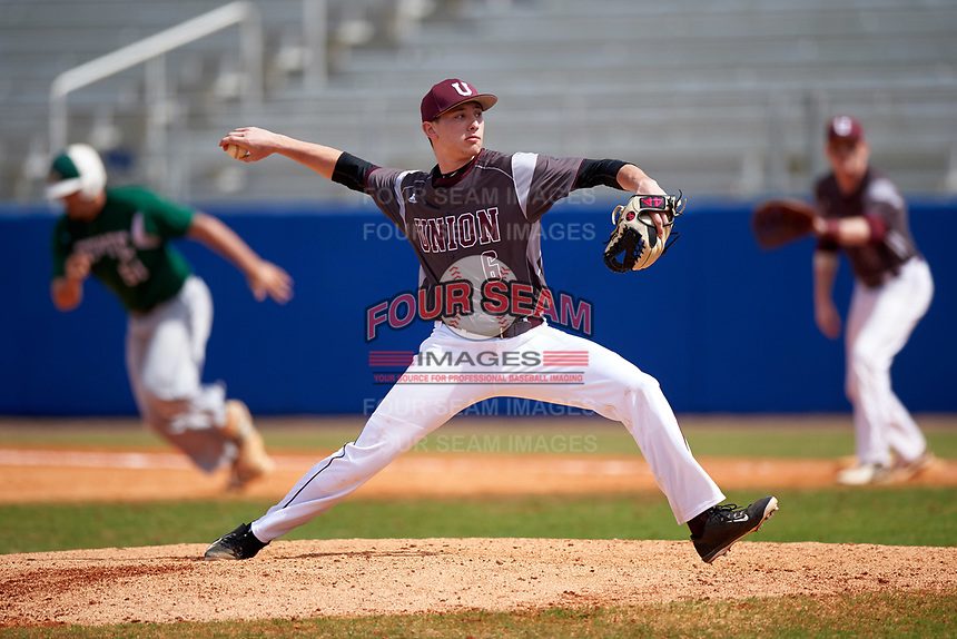 Union Dutchmen starting pitcher Nick Williams (6) delivers a pitch during a game against the Farmingdale Rams on March 21, 2016 at Chain of Lakes Stadium in Winter Haven, Florida.  Farmingdale defeated Union 17-5.  (Mike Janes/Four Seam Images)