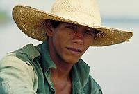 Fisherman on the Amazon. Fisherman. Amazonas Brazil The Amazon.