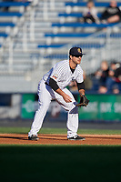 Scranton/Wilkes-Barre RailRiders first baseman Mike Ford (24) during a game against the Pawtucket Red Sox on May 15, 2017 at PNC Field in Moosic, Pennsylvania.  Scranton defeated Pawtucket 8-4.  (Mike Janes/Four Seam Images)
