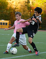 Tenafly Tigers vs Pascack Valley Indians boys soccer at Pascack Valley HS, Thursday, October 15, 2015.  Pascack Valley defeated Tenafly by the score of 3 - 1.
