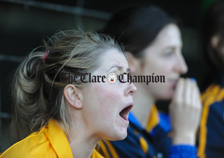 Caroline Mc Nulty of The Banner panel looks on during the last tense minutes of the Senior Ladies Munster football final at Kilmallock. Photograph by John Kelly.