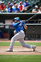 Iowa Cubs left fielder Mark Zagunis (6) at bat during a game against the Memphis Redbirds on May 29, 2017 at AutoZone Park in Memphis, Tennessee.  Memphis defeated Iowa 6-5.  (Mike Janes/Four Seam Images)