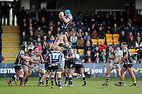 20130317 Copyright onEdition 2013©.Free for editorial use image, please credit: onEdition..Fraser McKenzie of Sale Sharks wins a lineout during the LV= Cup Final between Harlequins and Sale Sharks at Sixways Stadium on Sunday 17th March 2013 (Photo by Rob Munro)..For press contacts contact: Sam Feasey at brandRapport on M: +44 (0)7717 757114 E: SFeasey@brand-rapport.com..If you require a higher resolution image or you have any other onEdition photographic enquiries, please contact onEdition on 0845 900 2 900 or email info@onEdition.com.This image is copyright onEdition 2013©..This image has been supplied by onEdition and must be credited onEdition. The author is asserting his full Moral rights in relation to the publication of this image. Rights for onward transmission of any image or file is not granted or implied. Changing or deleting Copyright information is illegal as specified in the Copyright, Design and Patents Act 1988. If you are in any way unsure of your right to publish this image please contact onEdition on 0845 900 2 900 or email info@onEdition.com